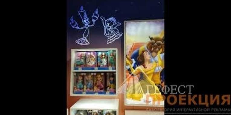 Компания Гефест проекция произвела поставку гобо проекторов во флагманский магазин Disney в ЦДМ на Лубянке.
