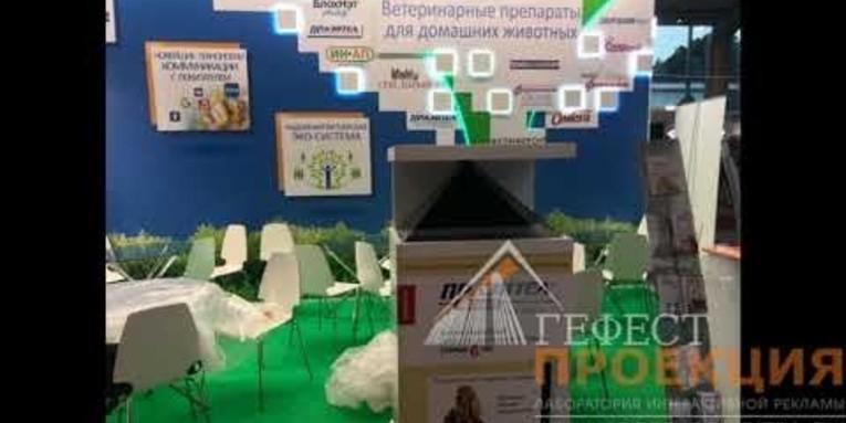 Голографическая пирамида на выставке в Сокольниках для компании Астрофарм.